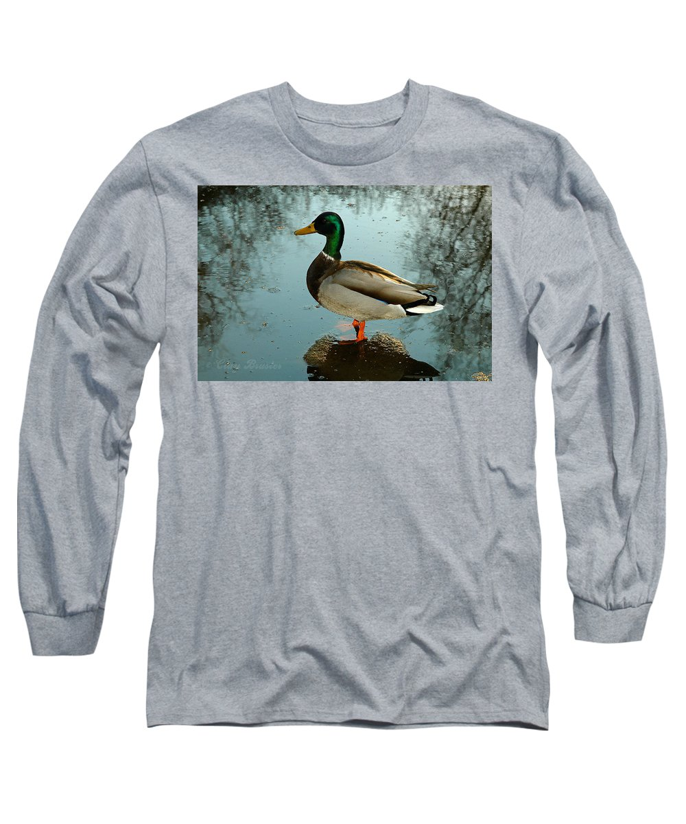 Clay Long Sleeve T-Shirt featuring the photograph Mallard by Clayton Bruster