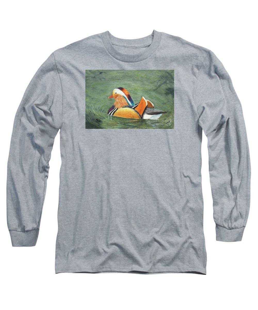 Duck Long Sleeve T-Shirt featuring the painting Mandarin Duck by Lynn Quinn