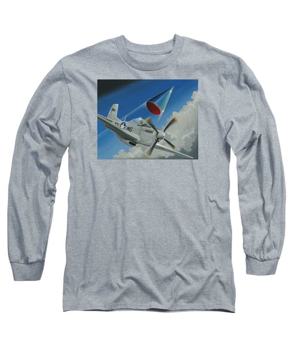 Ufo Long Sleeve T-Shirt featuring the painting Mantell Incident by Stuart Swartz