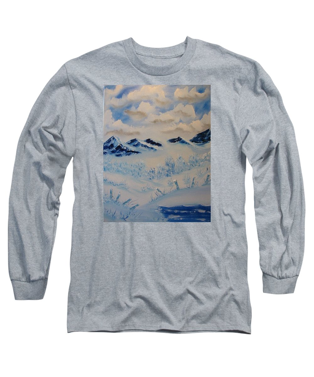 Blue Long Sleeve T-Shirt featuring the painting Many Valleys by Laurie Kidd