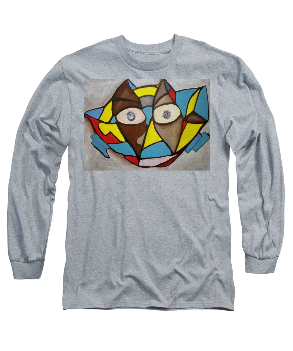 Masks Long Sleeve T-Shirt featuring the painting Mask by Philip Okoro