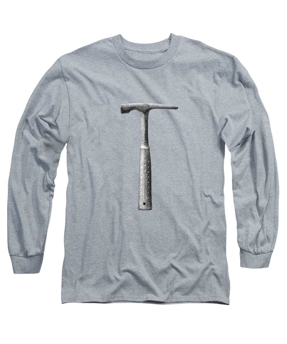 Art Long Sleeve T-Shirt featuring the photograph Masonry Hammer On Plywood 63 In Bw by YoPedro