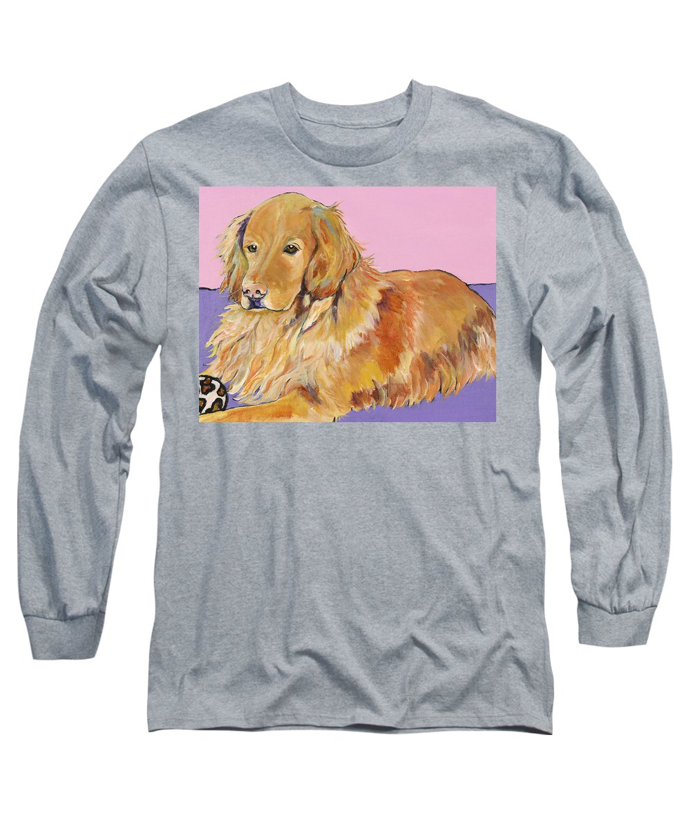 Golden Retriever Long Sleeve T-Shirt featuring the painting Maya by Pat Saunders-White