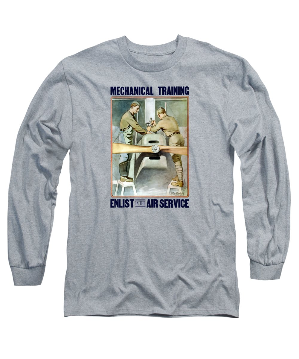 Ww1 Long Sleeve T-Shirt featuring the painting Mechanical Training - Enlist In The Air Service by War Is Hell Store