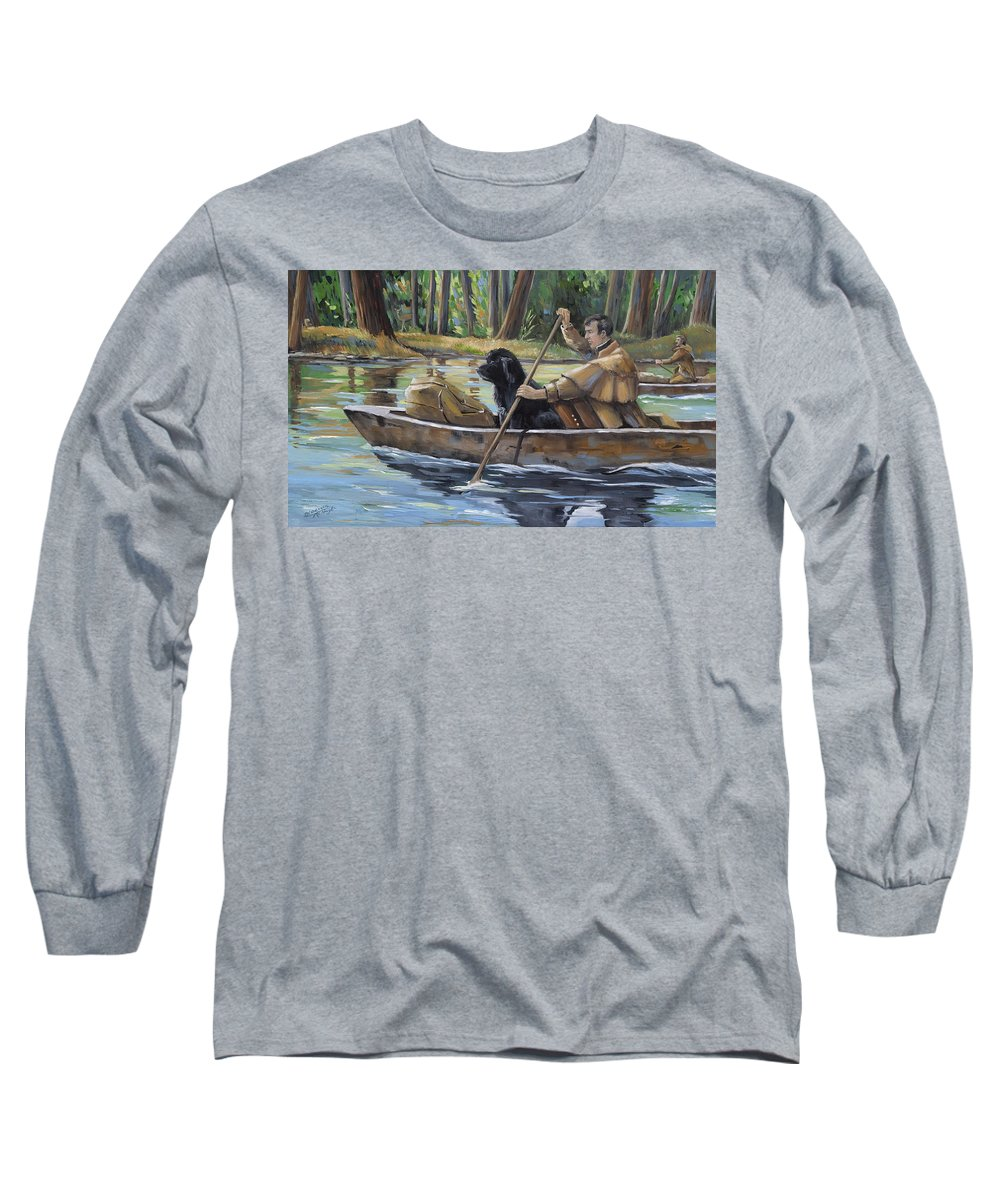 Lewis Meriwether Long Sleeve T-Shirt featuring the painting Meriwether by Paula McHugh