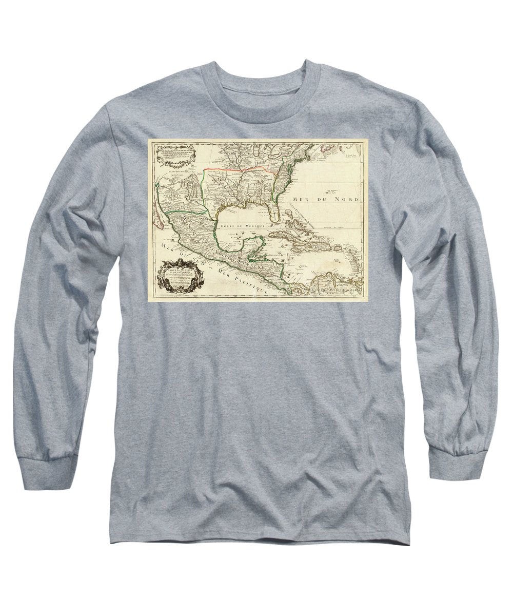 Map Long Sleeve T-Shirt featuring the painting Mexico, Florida, English Lands, Isles Antilles by Guillaume Delisle