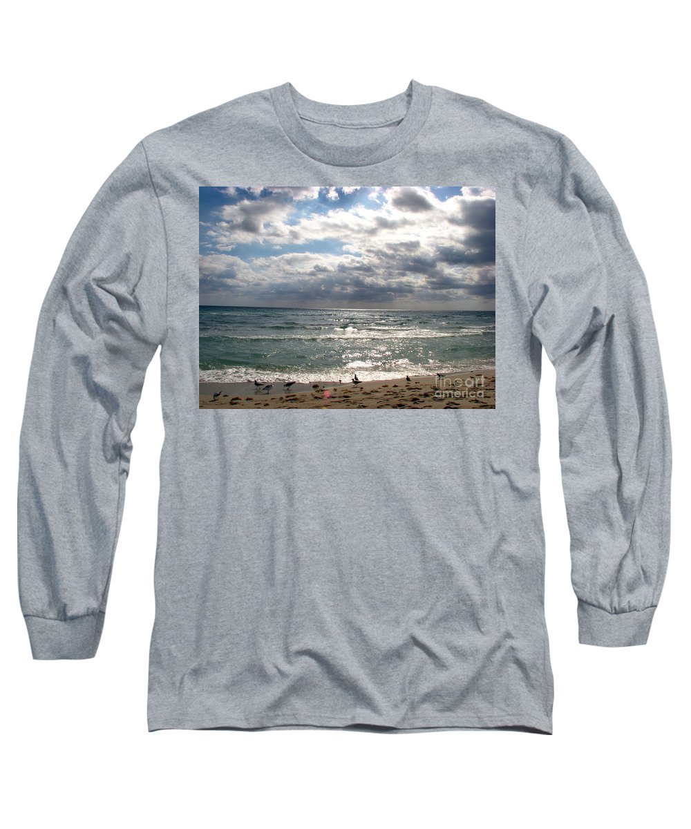 Miami Long Sleeve T-Shirt featuring the photograph Miami Beach by Amanda Barcon