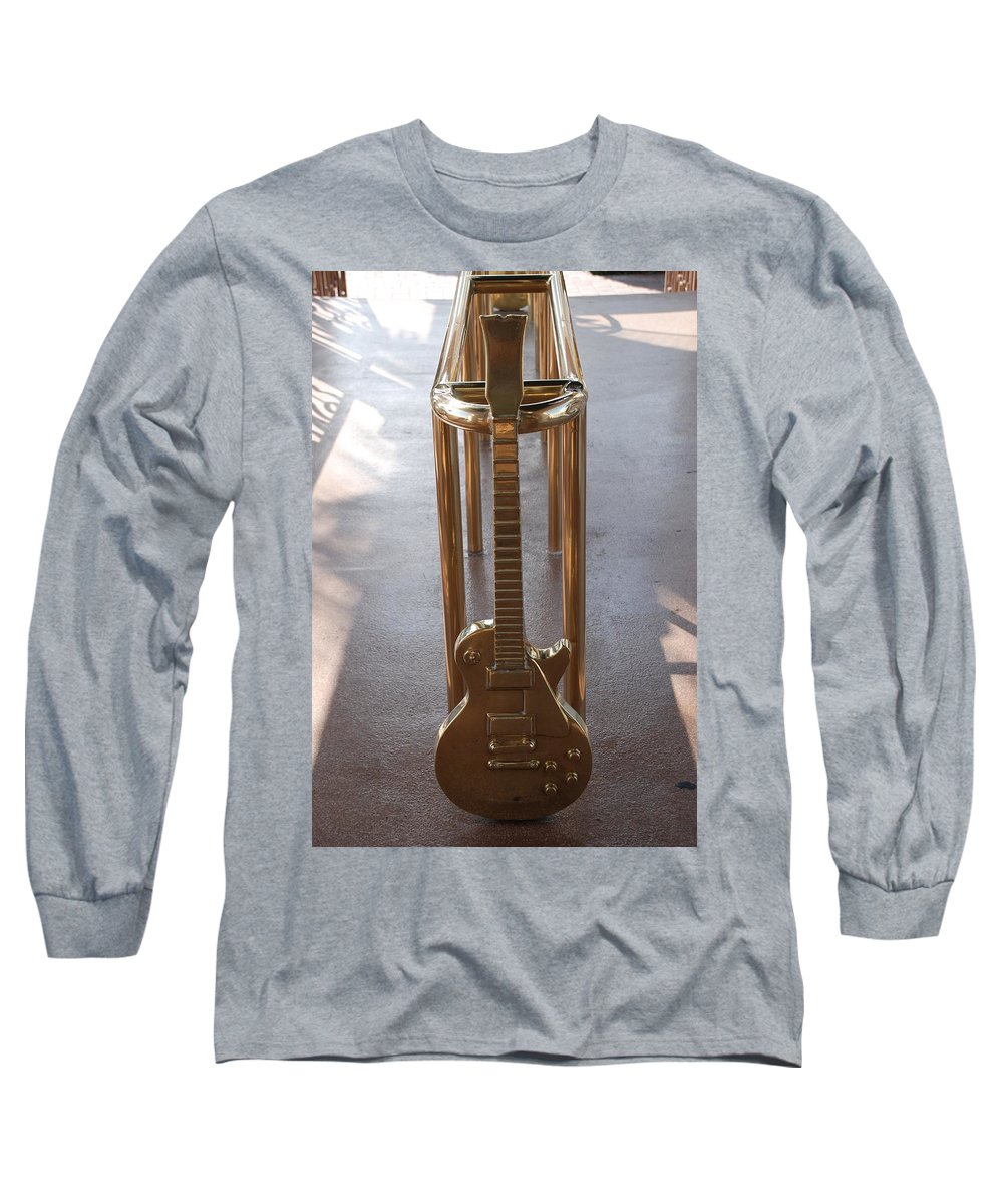 Brass Long Sleeve T-Shirt featuring the photograph Miami Hard Rock Brass Rail by Rob Hans