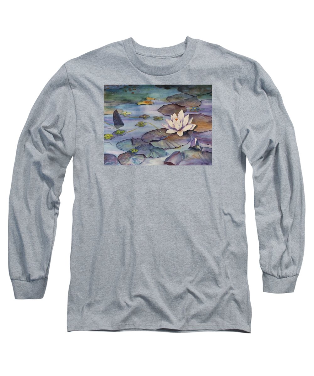 Lily Long Sleeve T-Shirt featuring the painting Midnight Lily by Jun Jamosmos