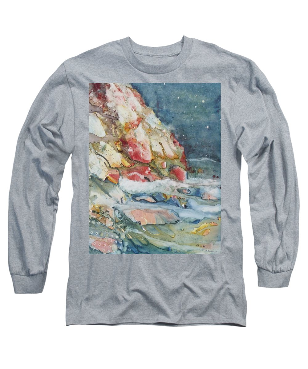 Abstract Long Sleeve T-Shirt featuring the painting Midnight Surf by Ruth Kamenev