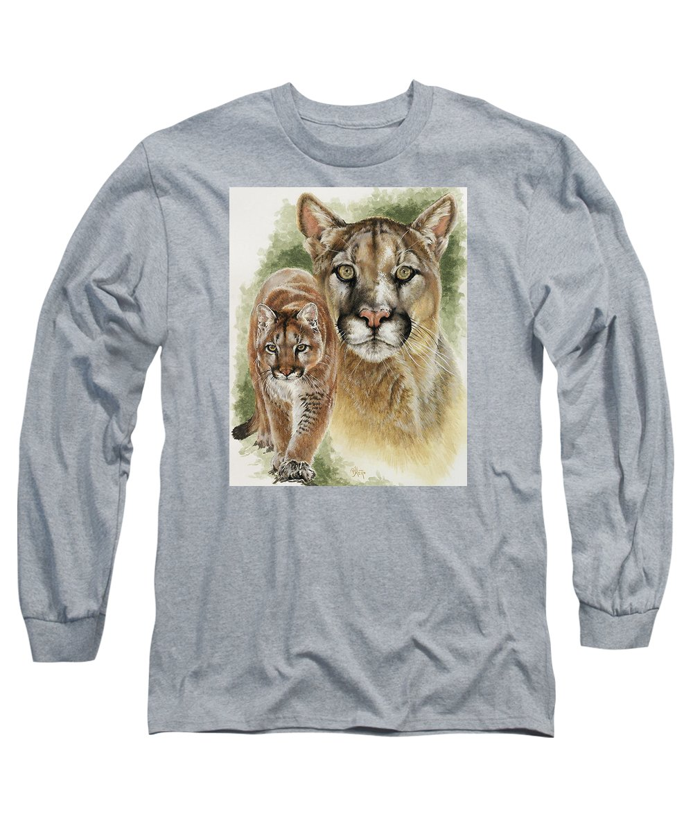 Cougar Long Sleeve T-Shirt featuring the mixed media Mighty by Barbara Keith