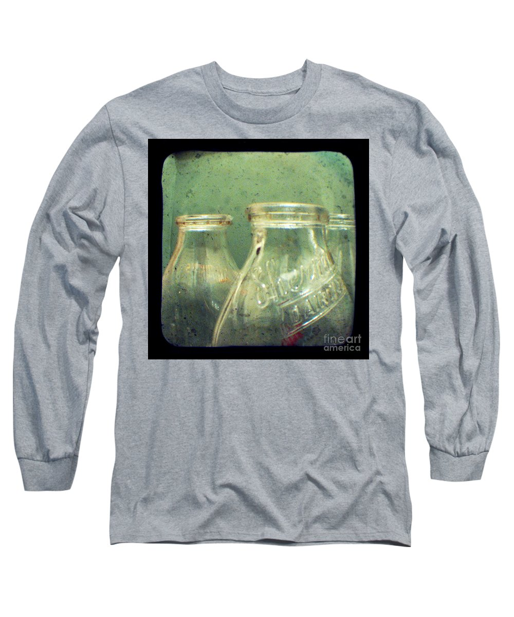 Ttv Long Sleeve T-Shirt featuring the photograph Milk Bottles by Dana DiPasquale