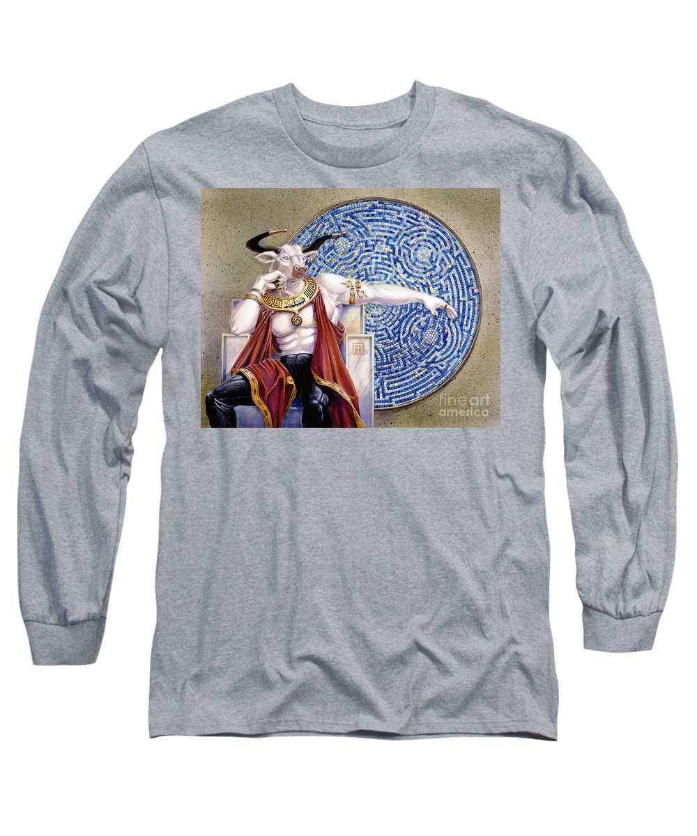 Anthropomorphic Long Sleeve T-Shirt featuring the painting Minotaur With Mosaic by Melissa A Benson