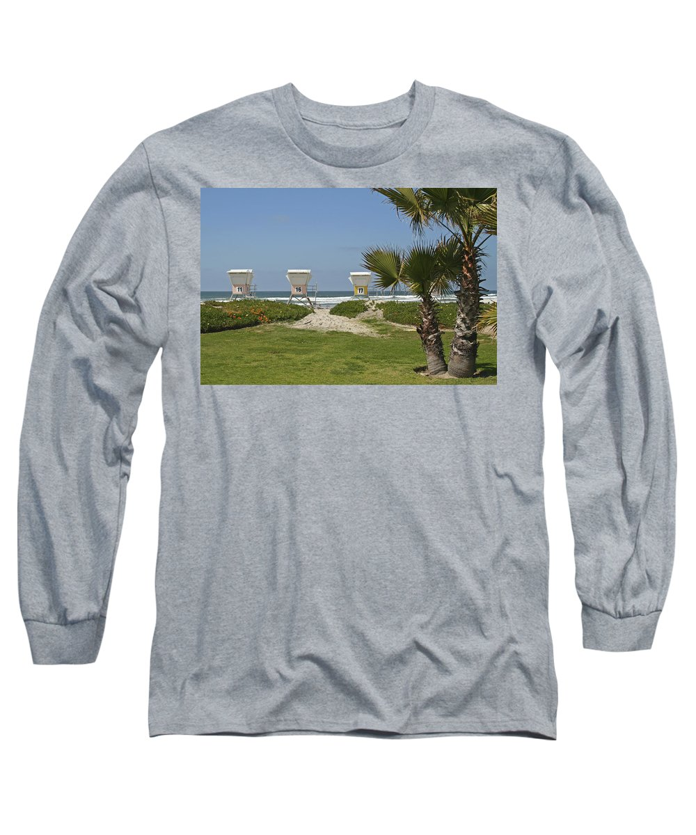 Beach Long Sleeve T-Shirt featuring the photograph Mission Beach Shelters by Margie Wildblood