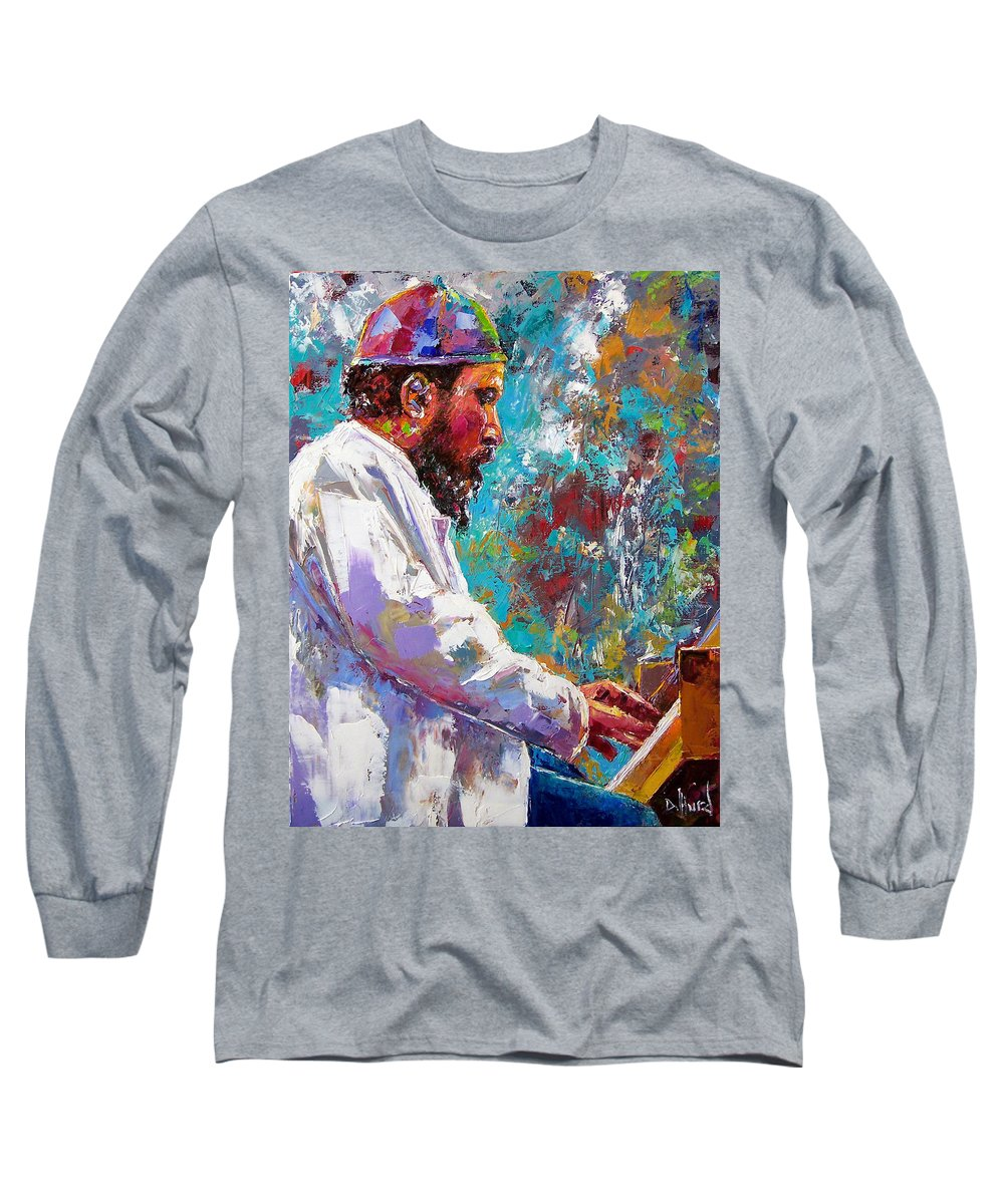 Thelonious Monk Art Long Sleeve T-Shirt featuring the painting Monk Live by Debra Hurd