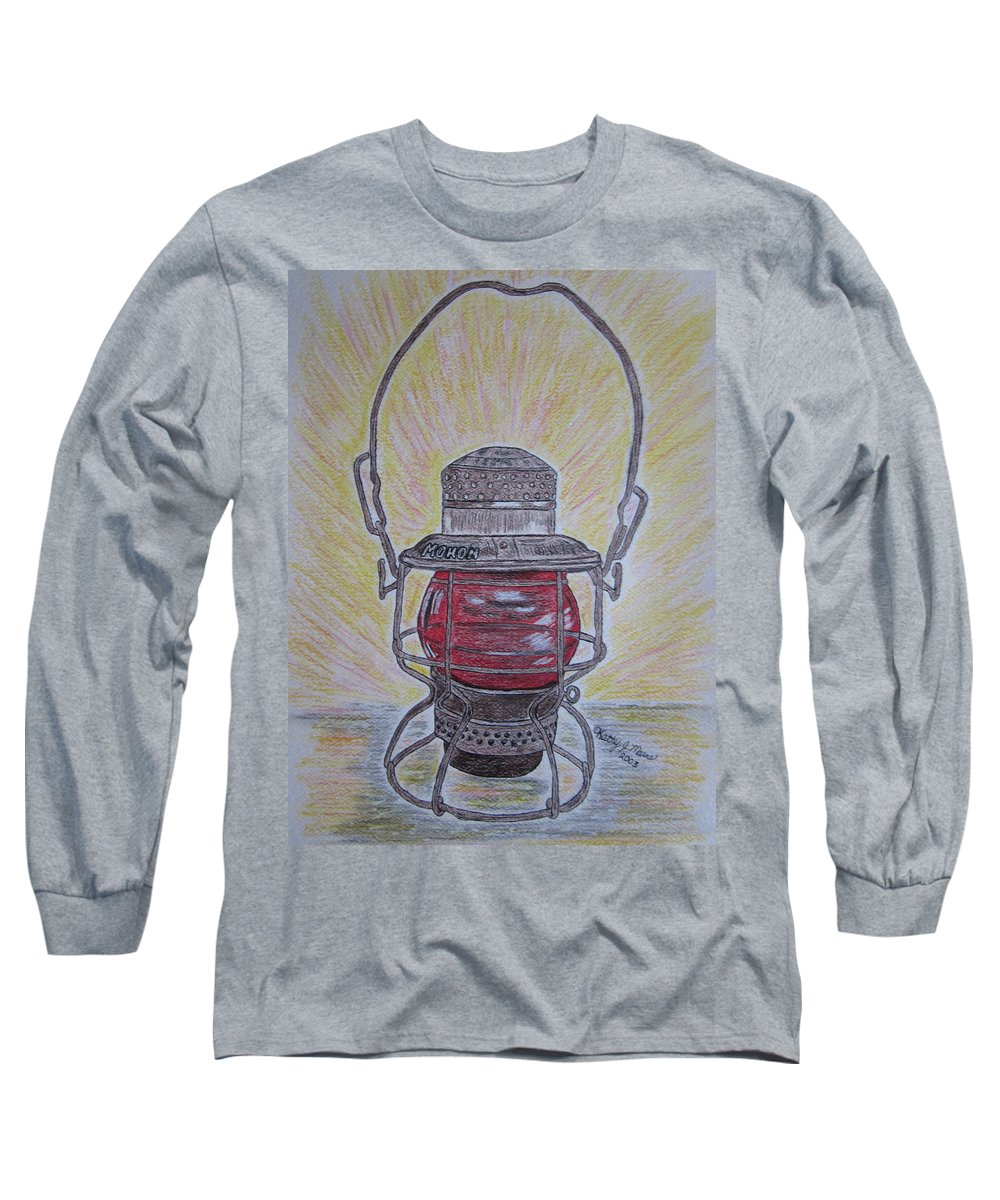 Monon Long Sleeve T-Shirt featuring the painting Monon Red Globe Railroad Lantern by Kathy Marrs Chandler