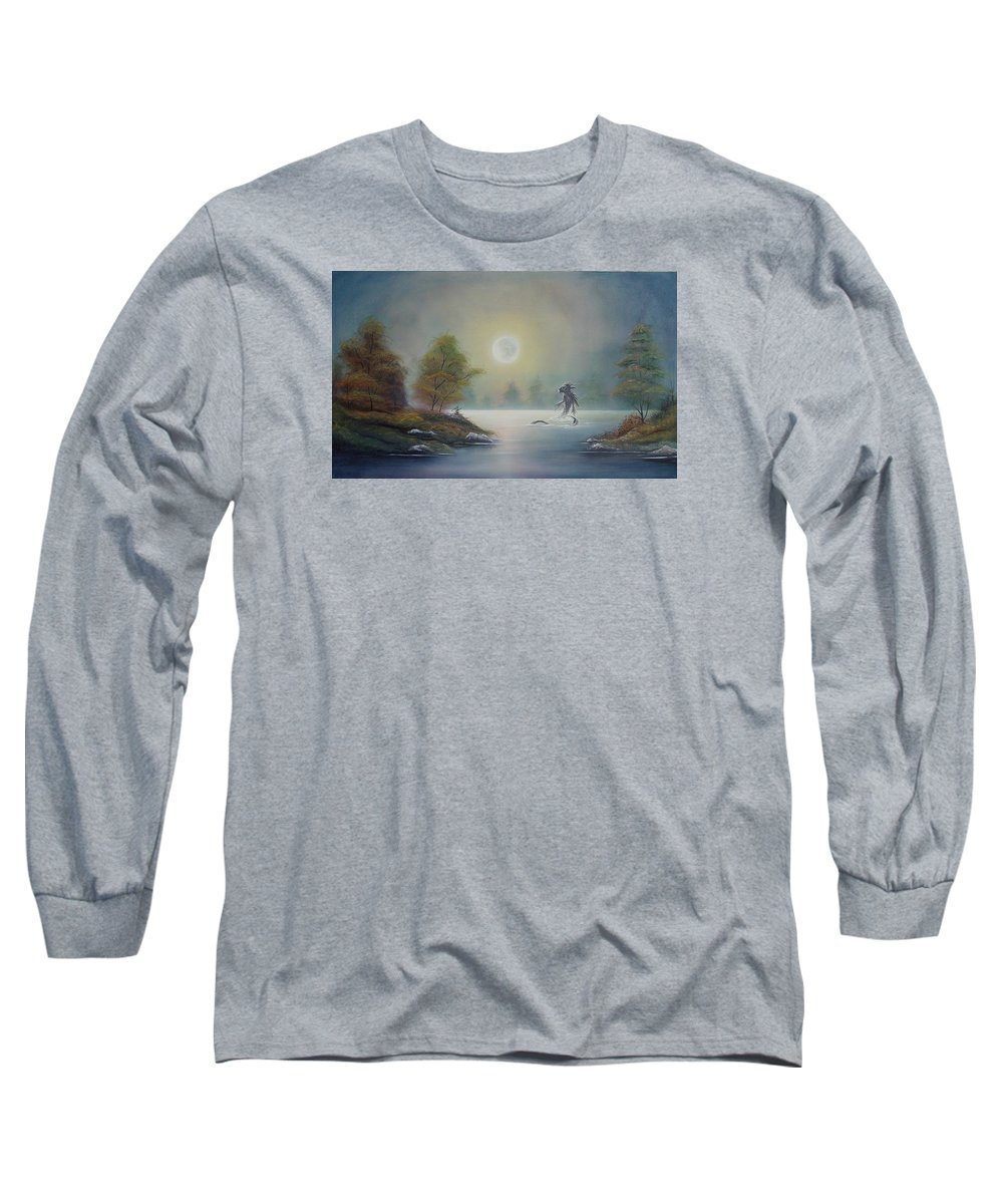 Landscape Long Sleeve T-Shirt featuring the painting Monstruo Ness by Angel Ortiz