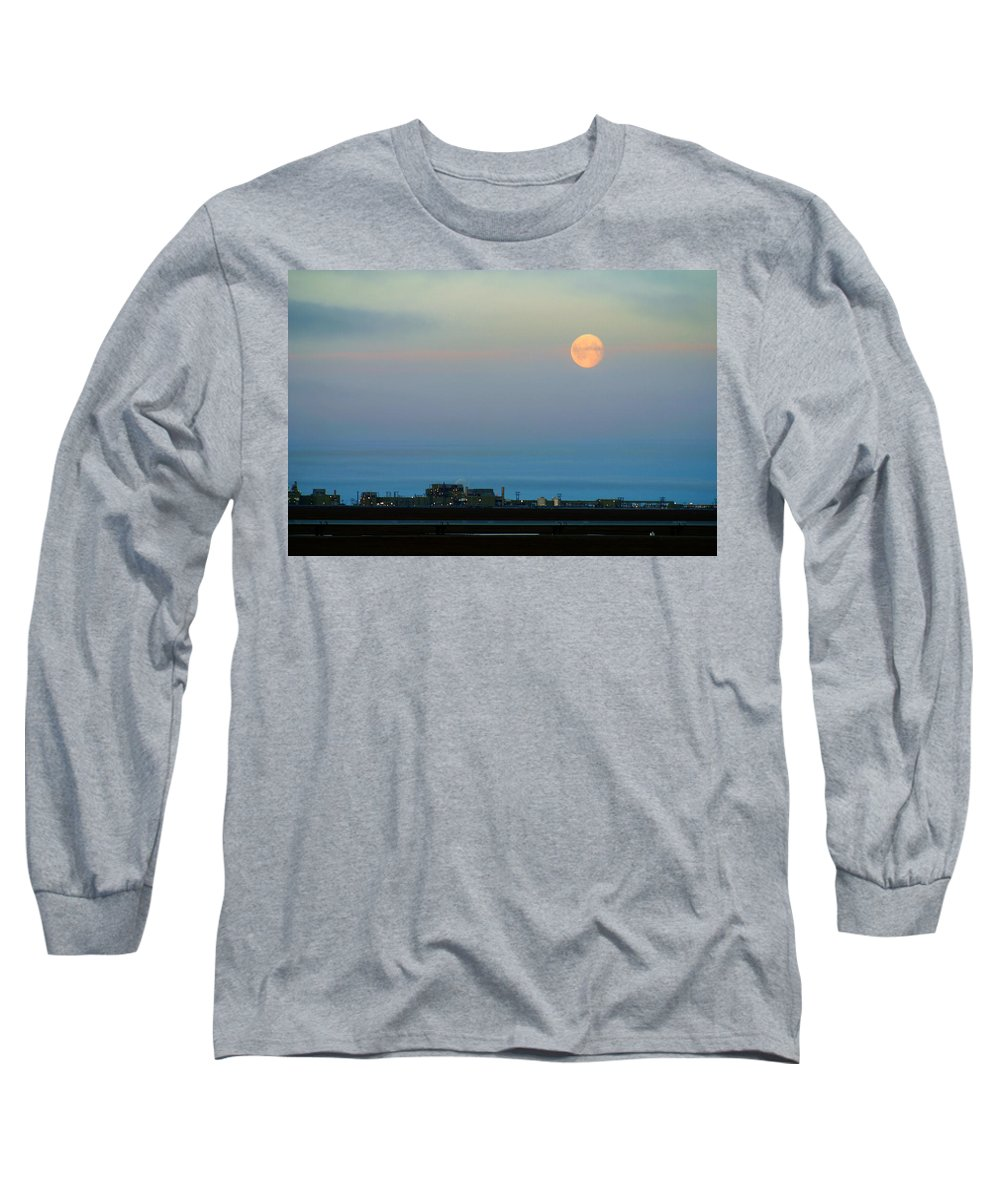 Landscape Long Sleeve T-Shirt featuring the photograph Moon Over Flow Station 1 by Anthony Jones