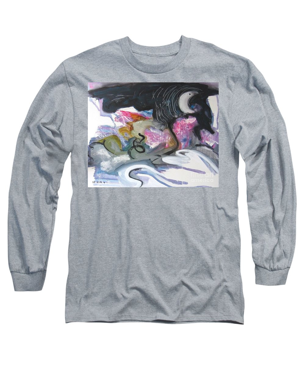 Abstract Paintings Long Sleeve T-Shirt featuring the painting Moonlight Fever by Seon-Jeong Kim