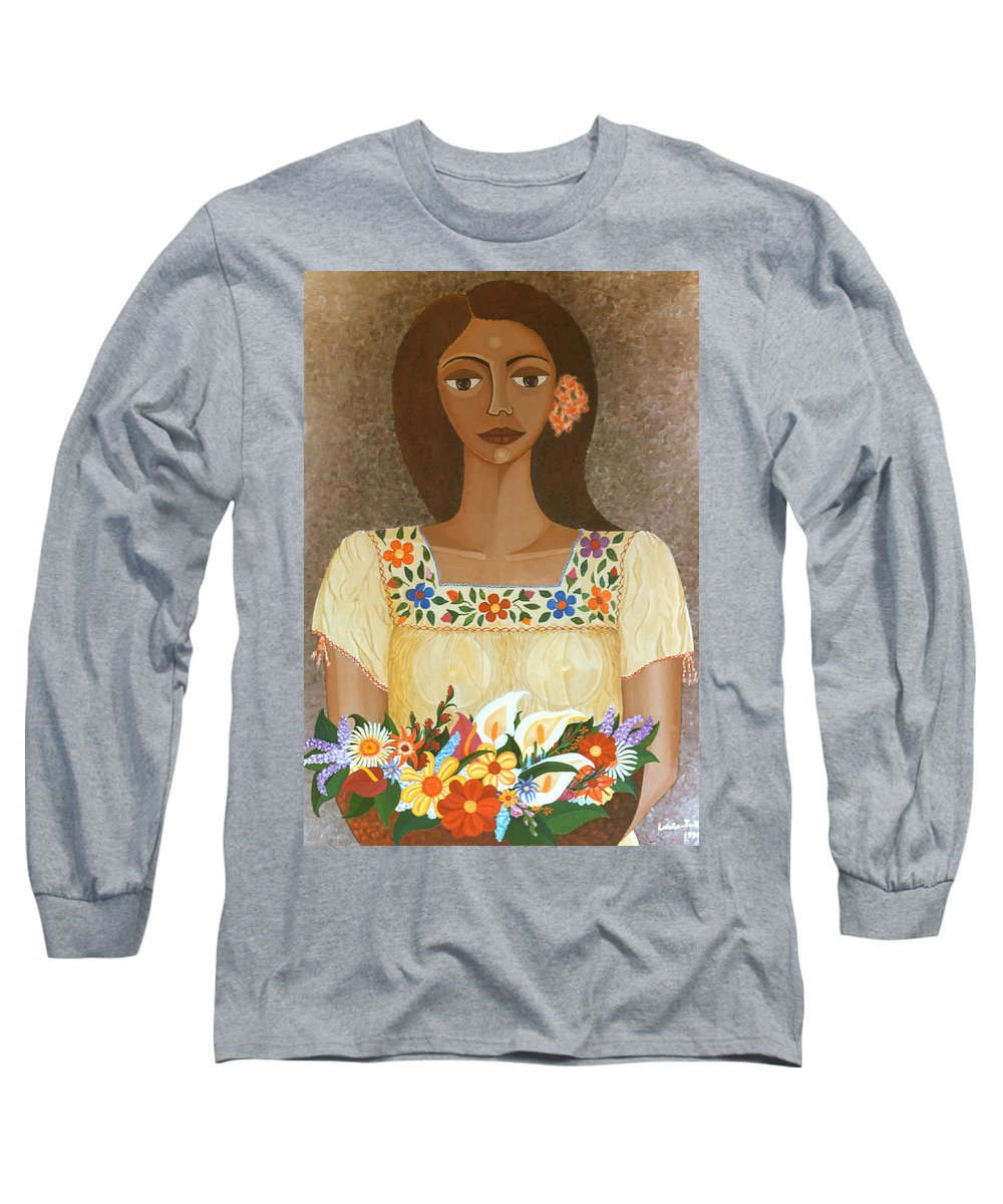 Oil Long Sleeve T-Shirt featuring the painting More Than Flowers She Sold Illusions by Madalena Lobao-Tello