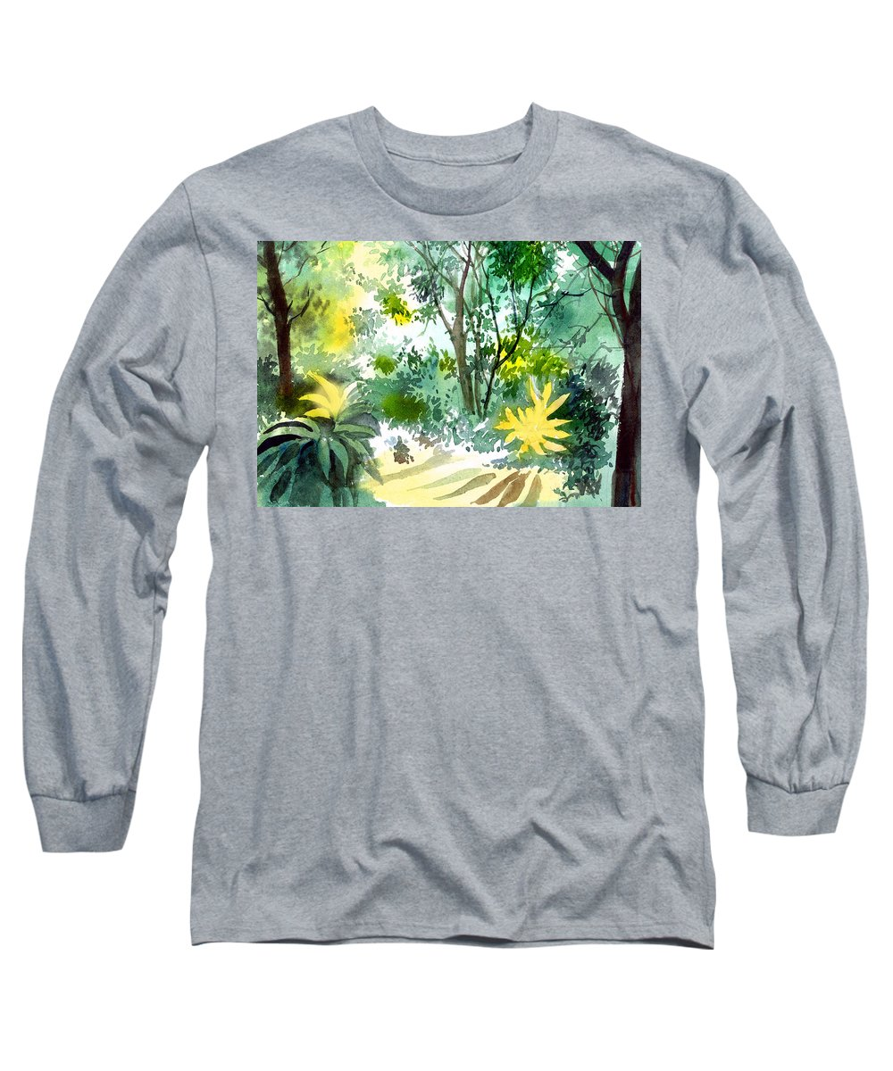 Landscape Long Sleeve T-Shirt featuring the painting Morning Glory by Anil Nene