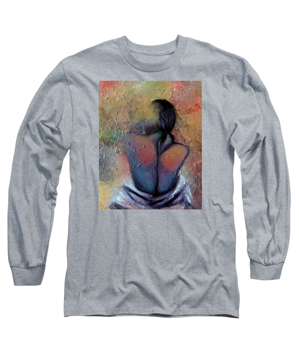 Abstract Long Sleeve T-Shirt featuring the painting Morning Glow by Elizabeth Lisy Figueroa