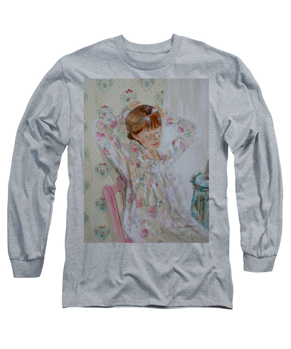 Morning Long Sleeve T-Shirt featuring the painting Morning Ritual by Jean Blackmer