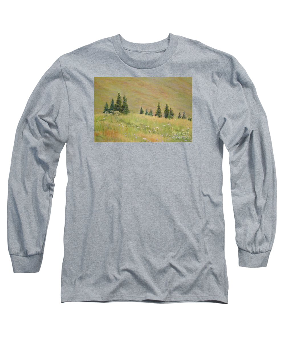 Landscape Long Sleeve T-Shirt featuring the painting Mountain Meadow by Lynn Quinn