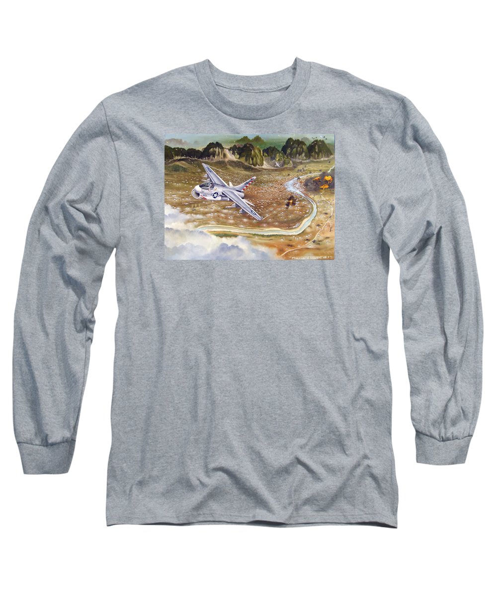 Aviation Long Sleeve T-Shirt featuring the painting Mu Gia Mayhem by Marc Stewart