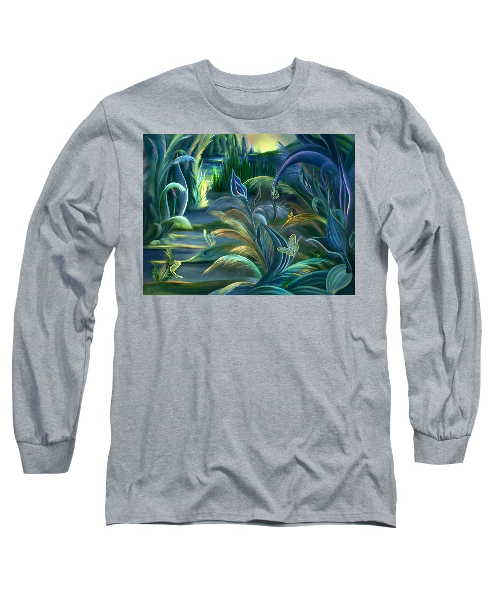 Mural Long Sleeve T-Shirt featuring the painting Mural Insects Of Enchanted Stream by Nancy Griswold