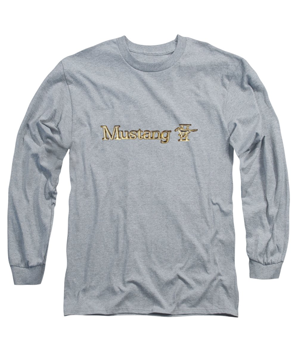 Automotive Long Sleeve T-Shirt featuring the photograph Mustang II Chrome Emblem by YoPedro