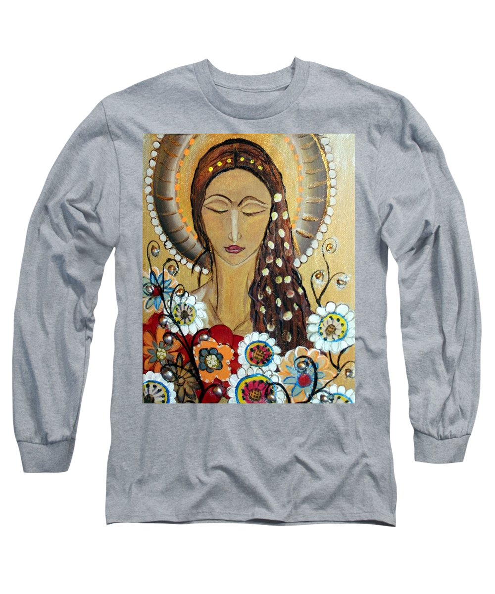 Art Long Sleeve T-Shirt featuring the painting My Angel Modern Icon by Luiza Vizoli