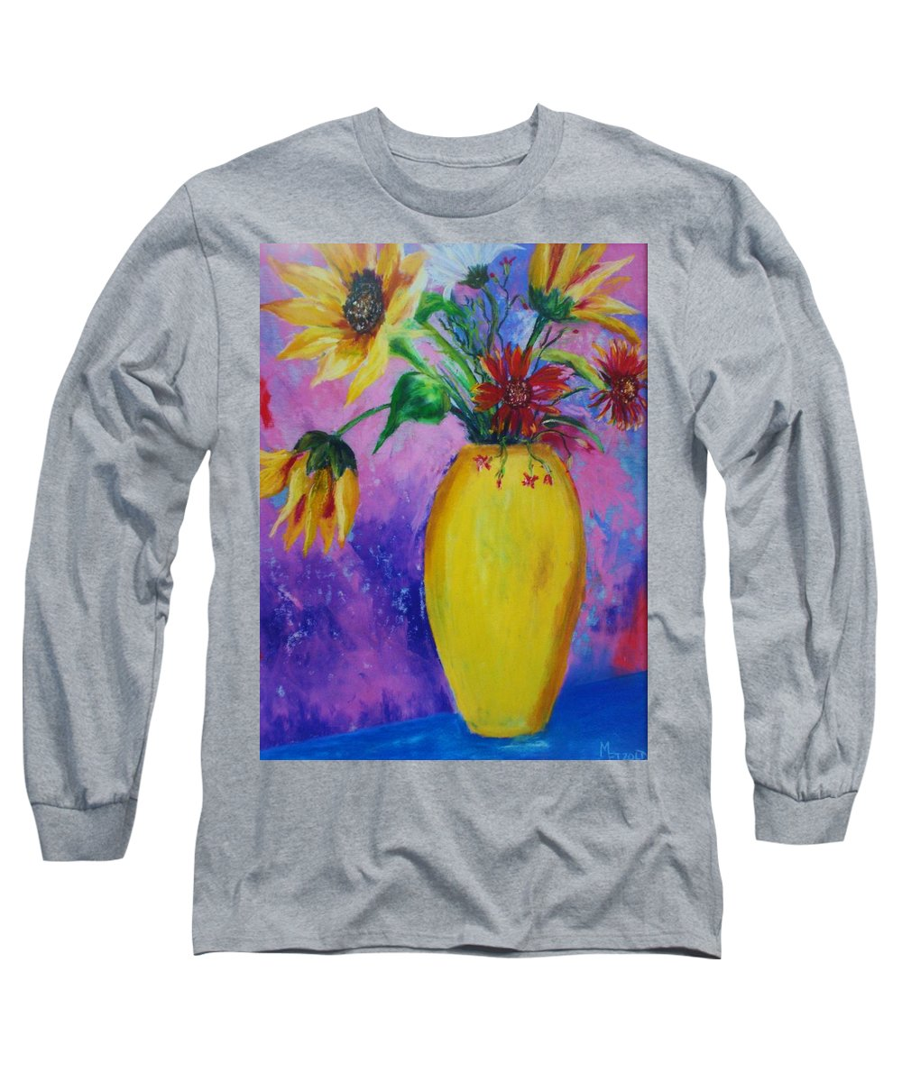 Sunflowers Long Sleeve T-Shirt featuring the painting My Flowers by Melinda Etzold