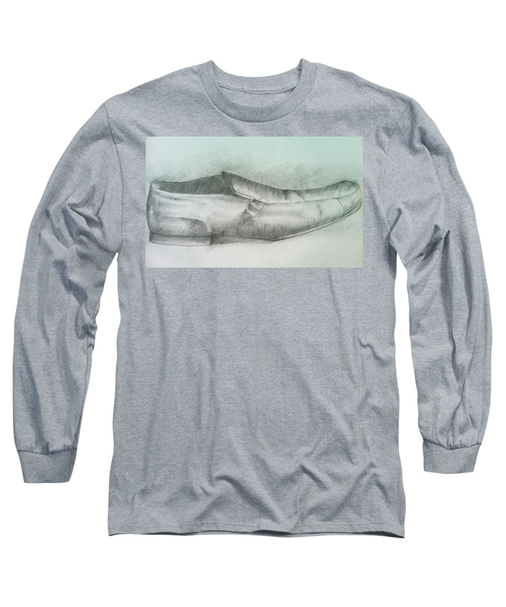 Drawings Long Sleeve T-Shirt featuring the drawing My Shoe by Olaoluwa Smith