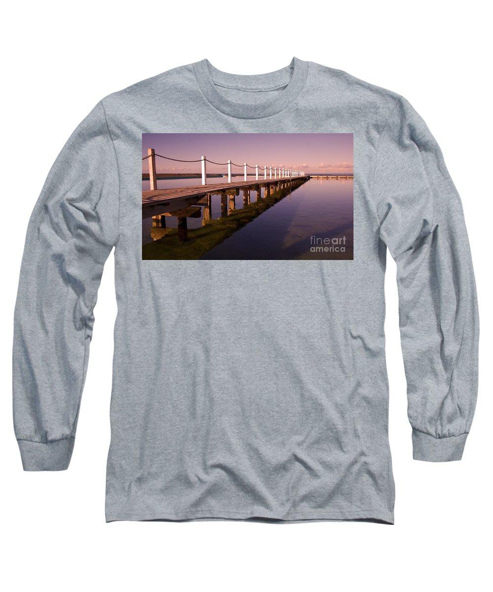 Narrabeen Sydney Sunrise Wharf Walkway Long Sleeve T-Shirt featuring the photograph Narrabeen Sunrise by Sheila Smart Fine Art Photography