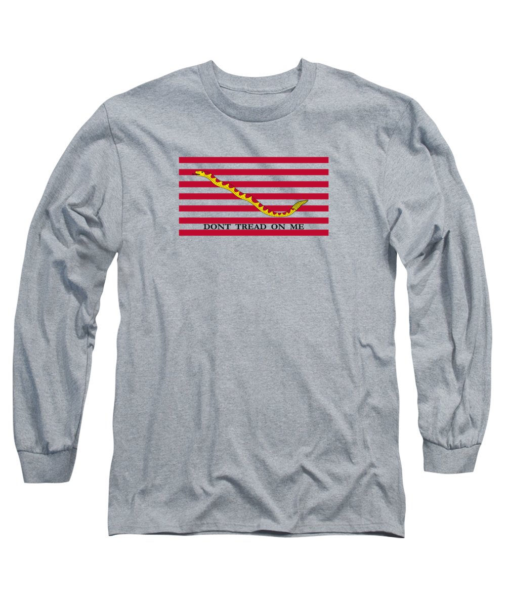 Navy Long Sleeve T-Shirt featuring the mixed media Navy Jack Flag - Don't Tread On Me by War Is Hell Store