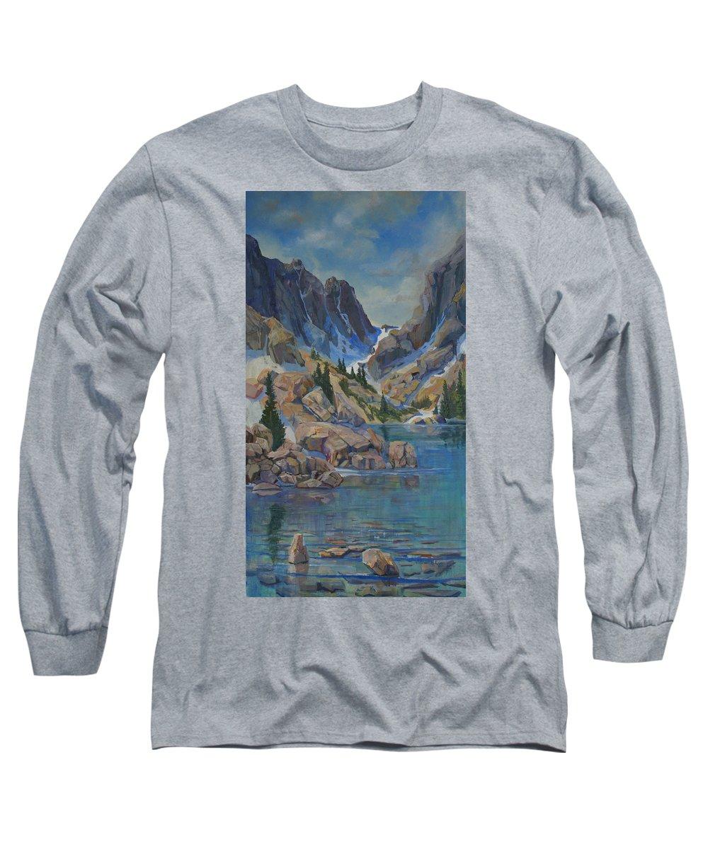 Hayden Spires Long Sleeve T-Shirt featuring the painting Near Hayden Spires by Heather Coen