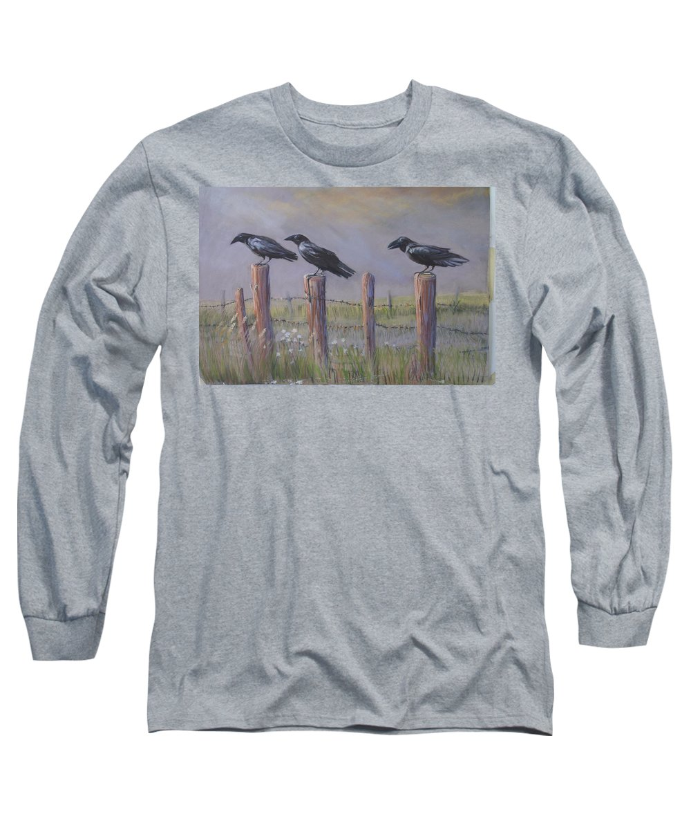 Crows Long Sleeve T-Shirt featuring the painting Neighborhood Watch by Heather Coen