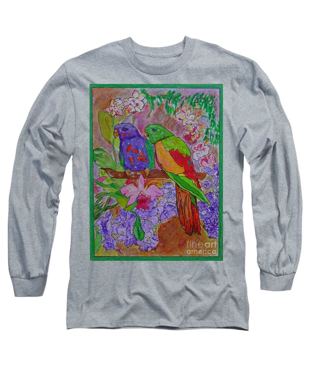 Tropical Pair Birds Parrots Original Illustration Leilaatkinson Long Sleeve T-Shirt featuring the painting Nesting by Leila Atkinson