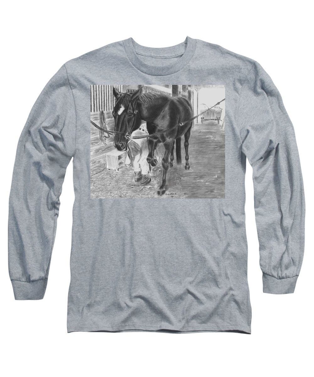 Horse Long Sleeve T-Shirt featuring the drawing New Shoes by Quwatha Valentine