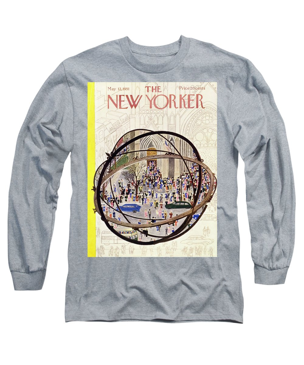 Parishioners Long Sleeve T-Shirt featuring the painting New Yorker May 12 1951 by Ilonka Karasz