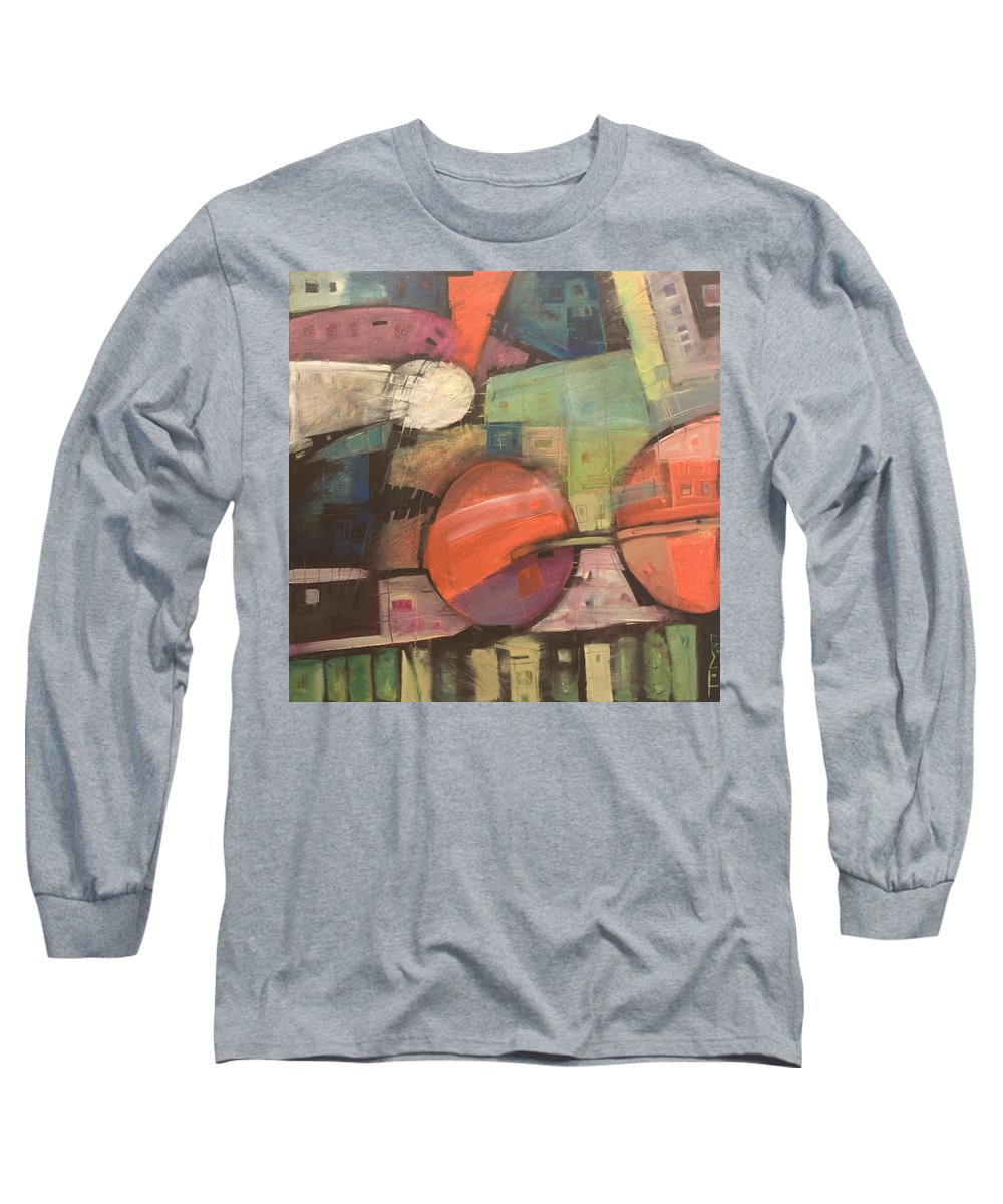 Train Long Sleeve T-Shirt featuring the painting Night Train by Tim Nyberg
