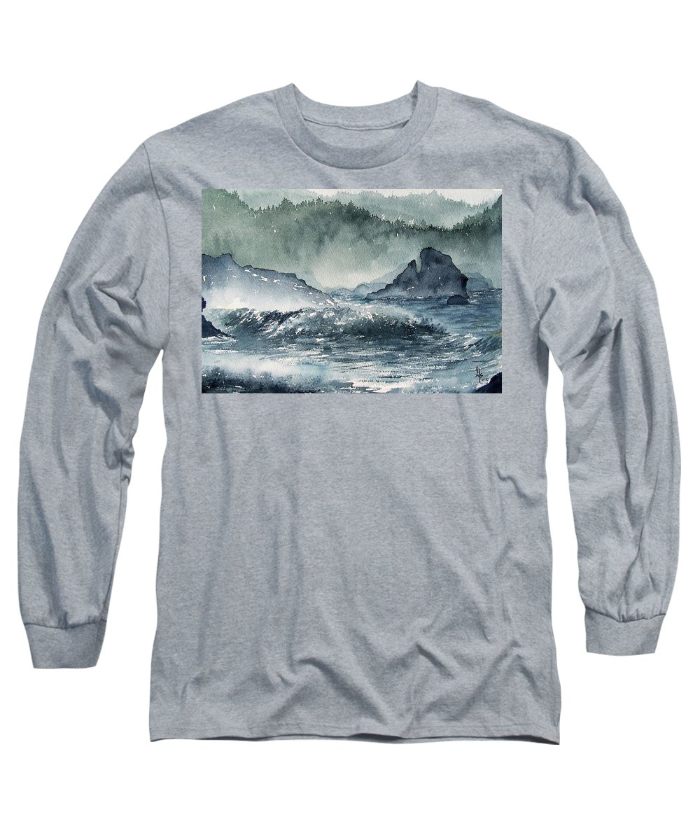 Ocean Long Sleeve T-Shirt featuring the painting Northern California Coast by Gale Cochran-Smith