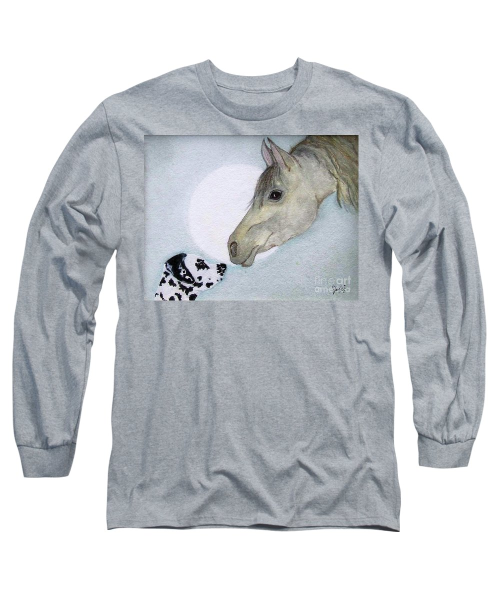 Dog Long Sleeve T-Shirt featuring the painting Nose 2 Nose by Jacki McGovern