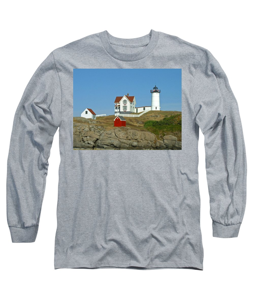 Nubble Long Sleeve T-Shirt featuring the photograph Nubble Light by Margie Wildblood