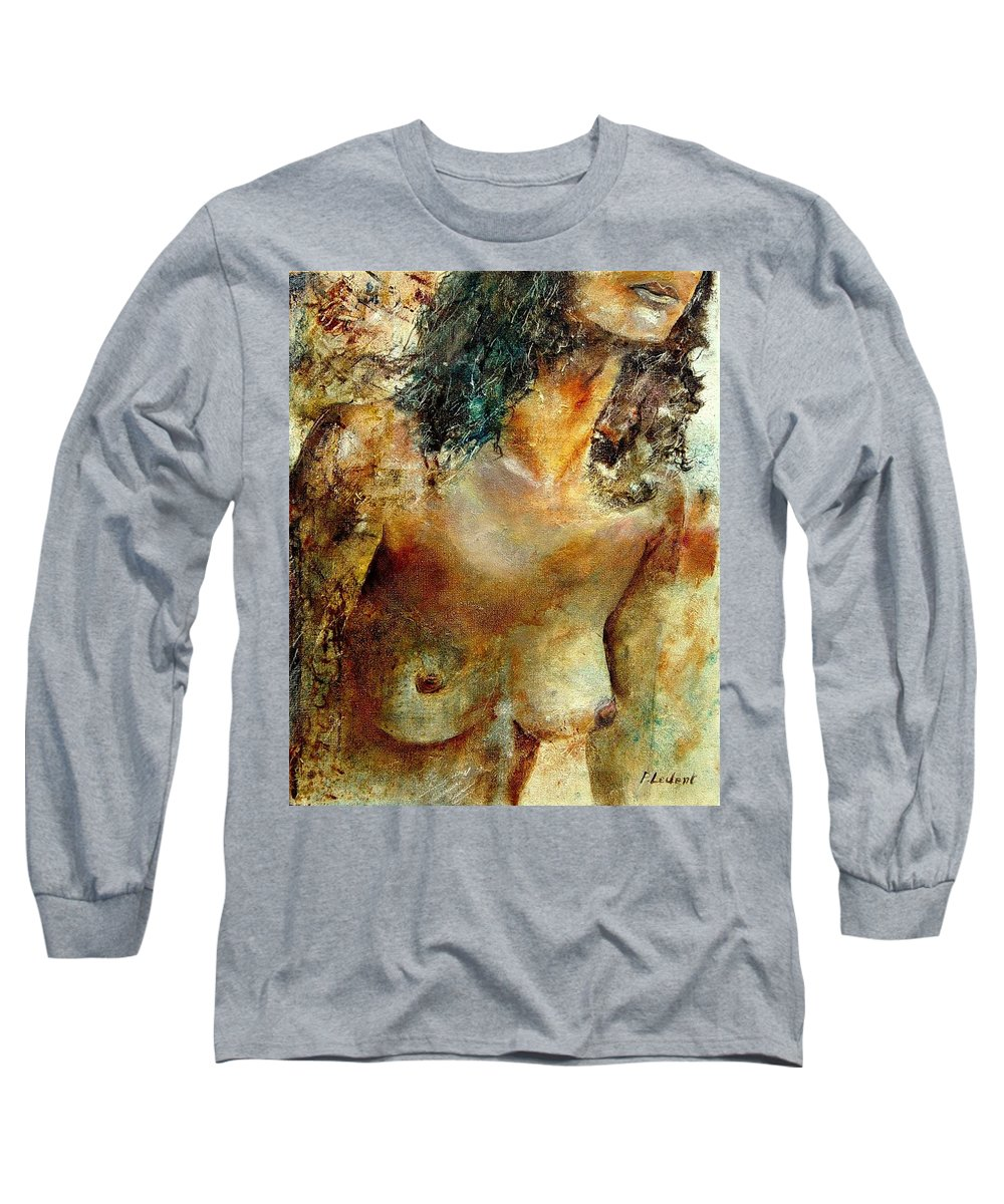 Girl Nude Long Sleeve T-Shirt featuring the painting Nude 34 by Pol Ledent