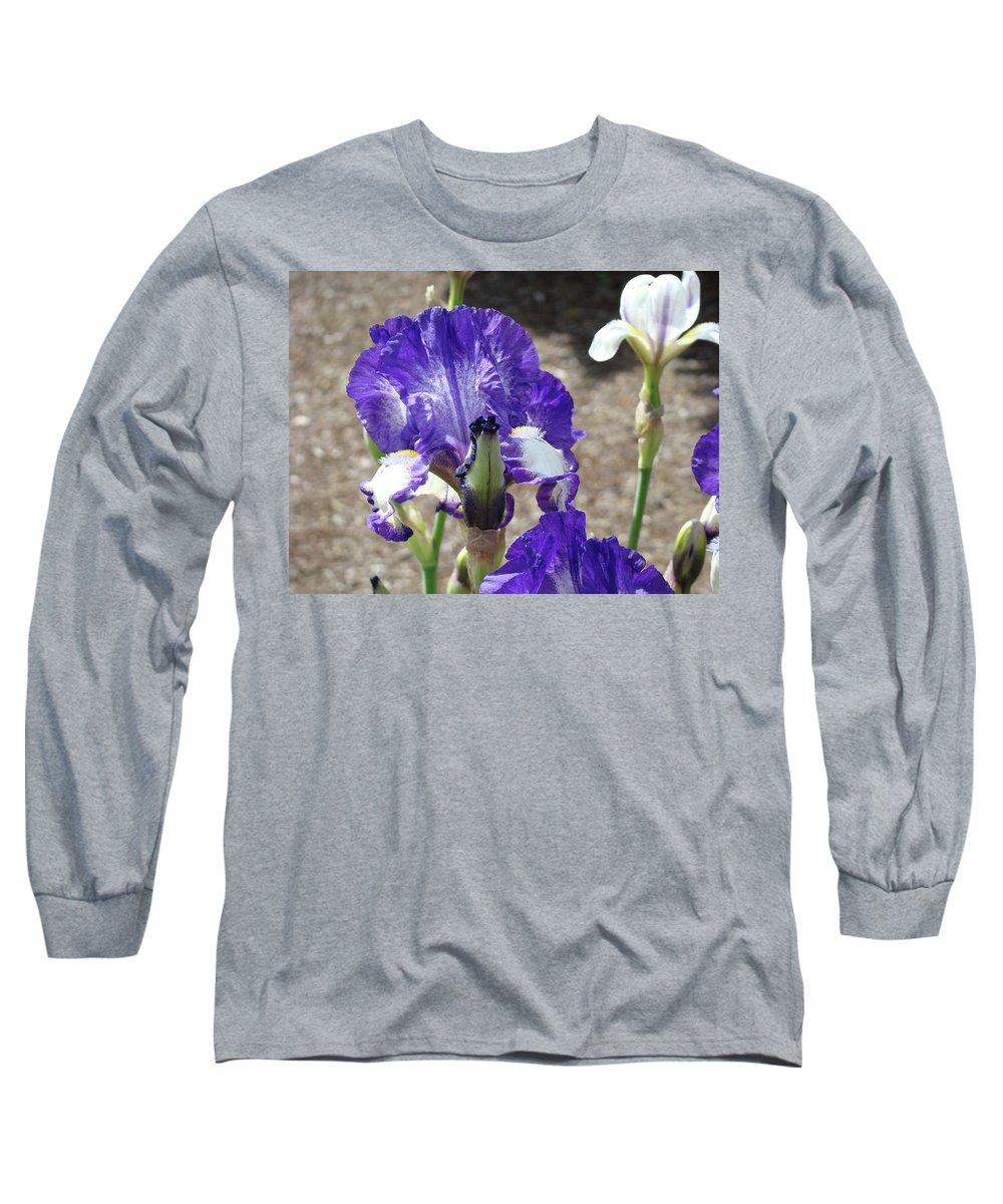 Office Long Sleeve T-Shirt featuring the photograph Office Art Prints Irises Flowers 46 Iris Flower Giclee Prints Baslee Troutman by Baslee Troutman