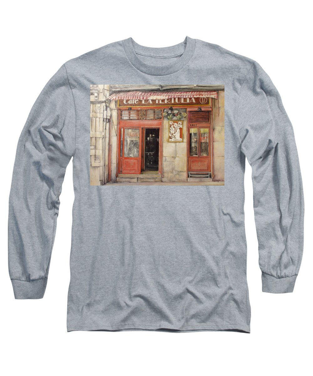 Cafe Long Sleeve T-Shirt featuring the painting Old Cafe- Santander Spain by Tomas Castano