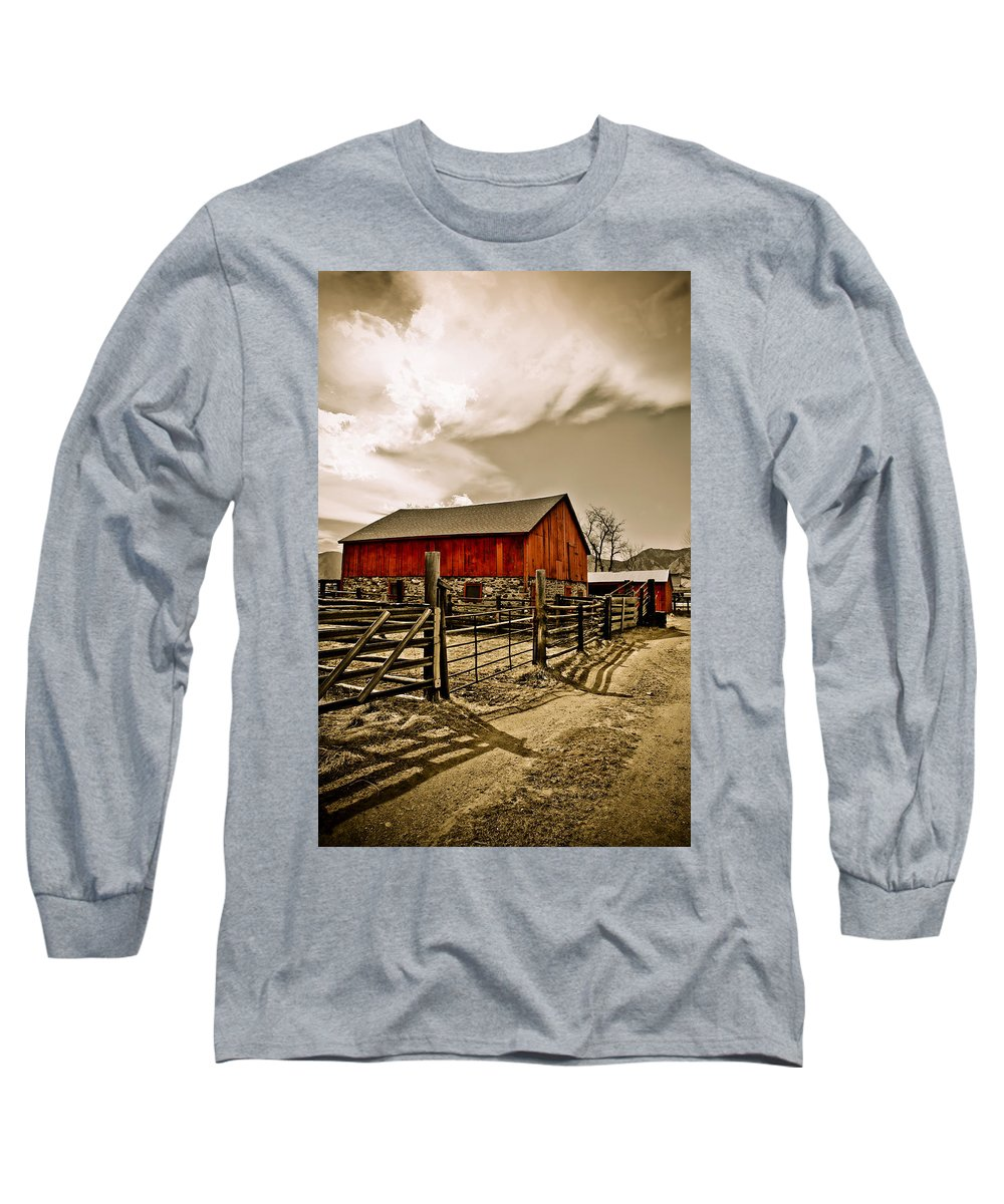 Americana Long Sleeve T-Shirt featuring the photograph Old Country Farm by Marilyn Hunt