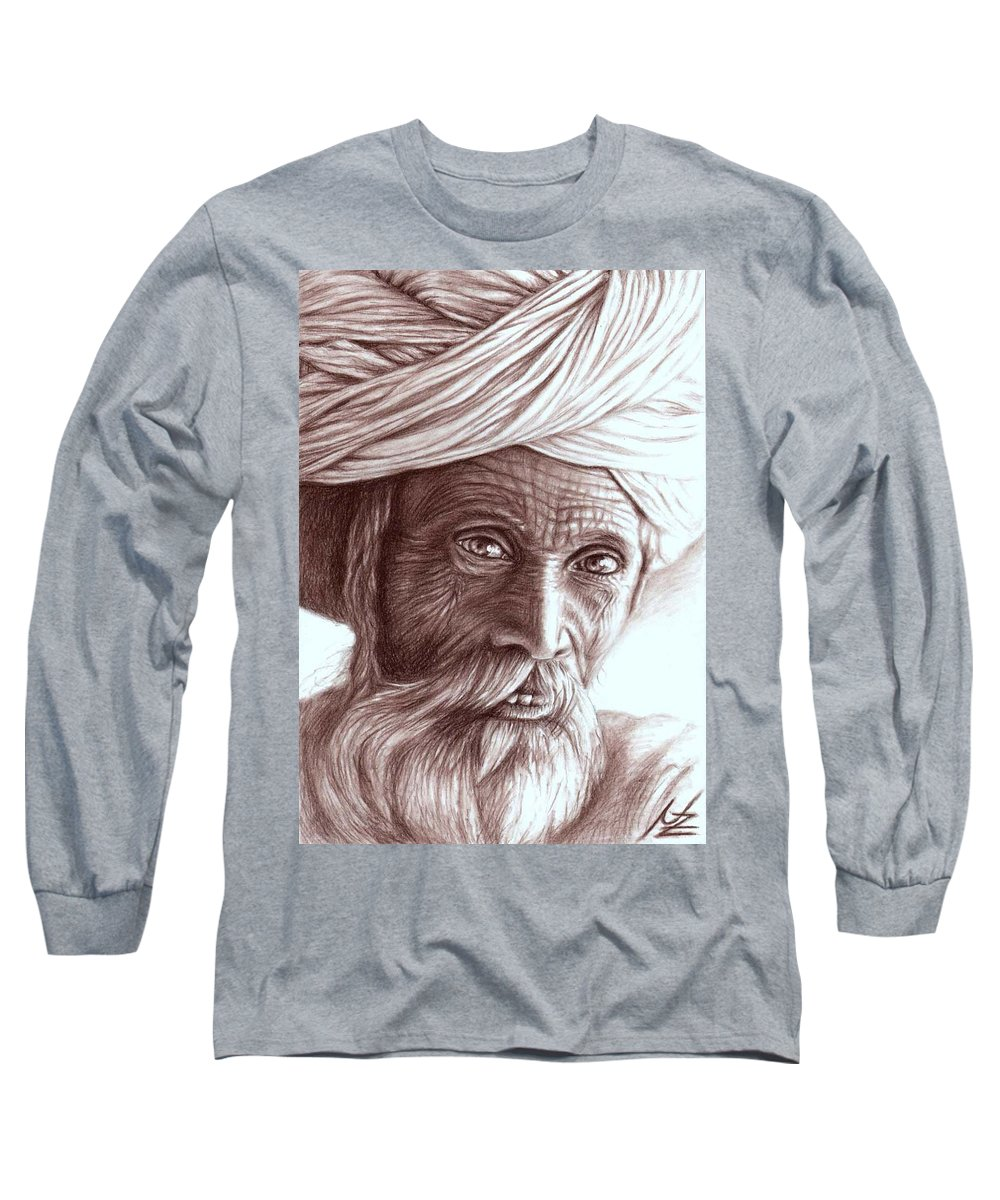 Man Long Sleeve T-Shirt featuring the drawing Old Indian Man by Nicole Zeug